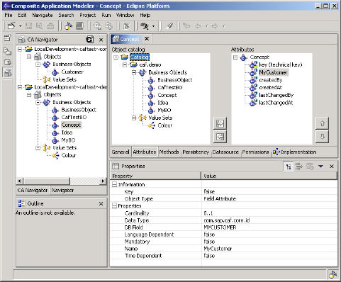 Attribute tabstrip in the Business Object Modeler