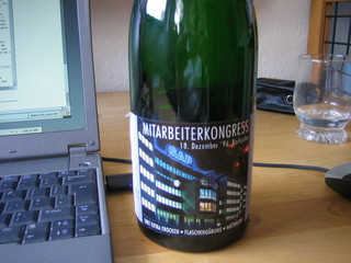 Bottle of bubbly with SAP label
