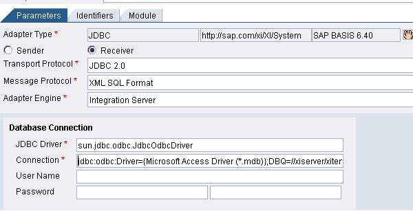 Connecting to MS Access using receiver JDBC Adapter (Without