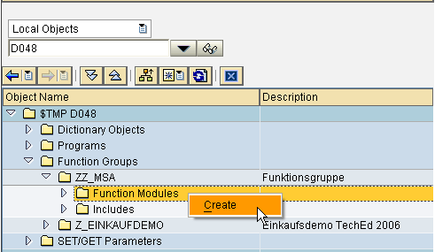 creating a function module in SE80
