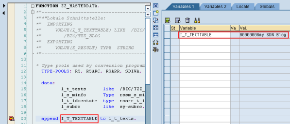 ABAP debugger starts again and display correct values