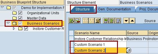 Sap solution manager 40 project management business blueprint select the business scenarios at the top level on the left side on the right side in the structure tab add custom business scenario as per requirement malvernweather Choice Image