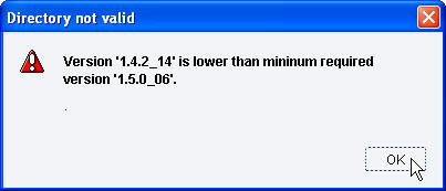 Version 1.4.2 is lower than minimum required version 1.5.0_06