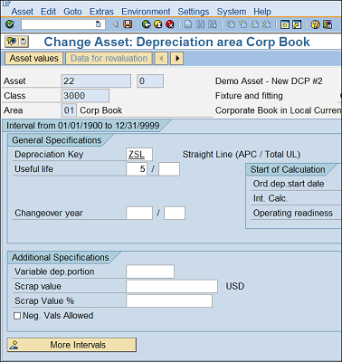 Depreciation Areas tab on the Asset Master Record