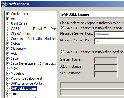 Configure the J2EE engine