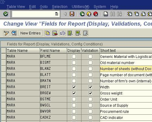 Select fields for display / validation