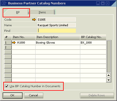 BP Catalog Numbers - BP tab - option selected