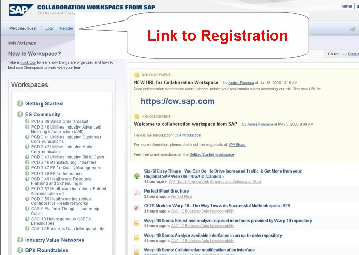 1. The landing page for all non-registered visitors