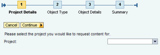 Select the project or department you need new content for.