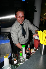 Barkeeper mixing another Strawberry Daiquiri