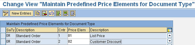 Define Predefined Price Elements for Document type