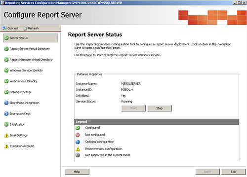 Reporting service configuration