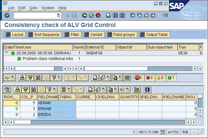 ALV consistency check with showing the field catalog