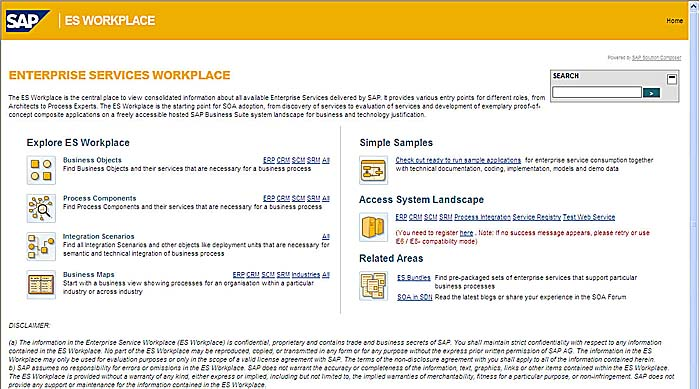 ES Workplace home page