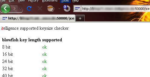 Checking supported keysizes