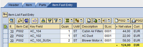 DBM Parts order Fast entry