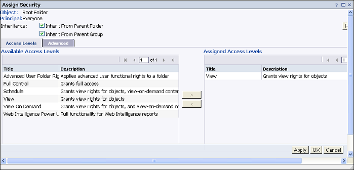 screenshot of assigning view access to Root Folder for Everyone group