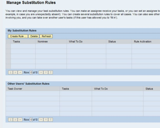 Manage Substitution Rules