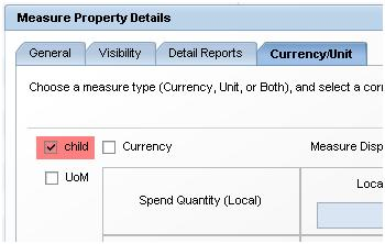 Child flag in measure property