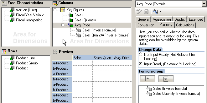 Input Ready Formulas in the Query Designer