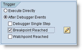 Executing a script at breakpoints