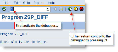Returning control to the debugger