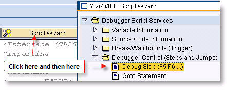 Add a method call from the Script Wizard