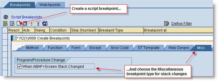 Create a breakpoint for a debugger script