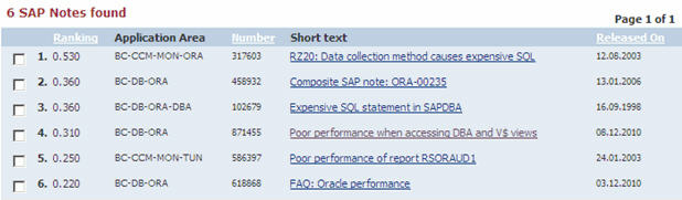 SAP Note search result