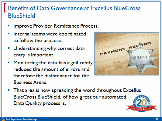 Benefits of Data Governance at Excellus