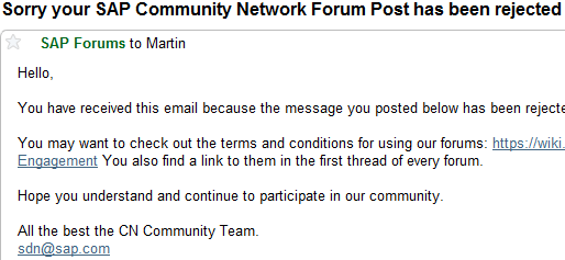 2. Rejection of posts to forums