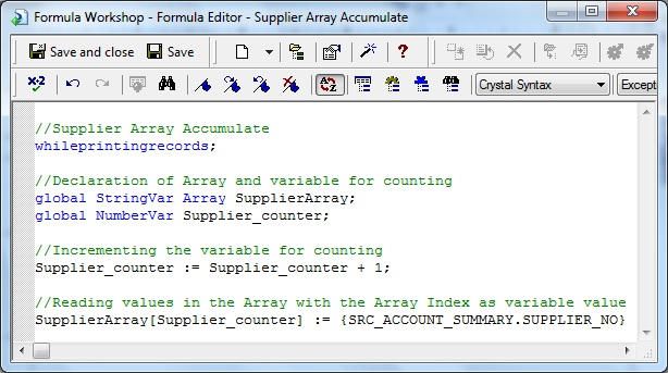 Supplier Array Accumulate