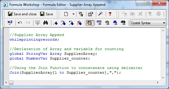 Supplier Array Append