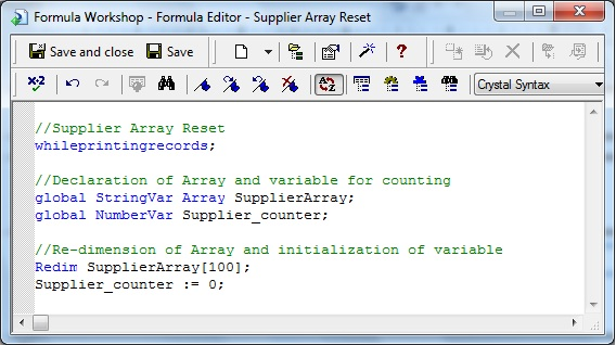 Supplier Array Reset