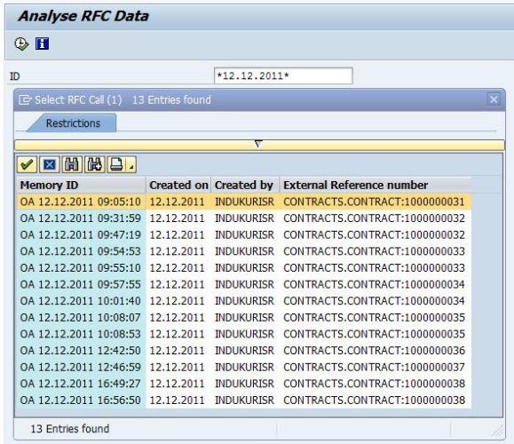 ERP transaction BBP_ES_Analyze – search for RFC data