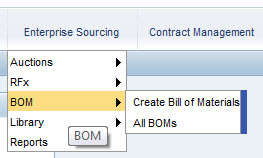 Enterprise Sourcing menu with Bill of Materials (BOM)