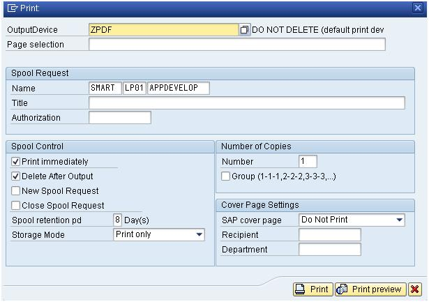 Save print output as PDF file in front end system using PDF