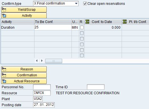 Change of resource in time ticket process order confirmation
