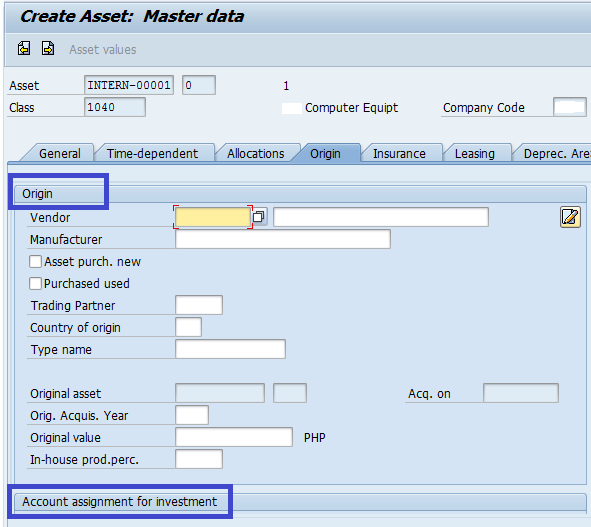Asset Accounting – How are the Asset Master Record Fields