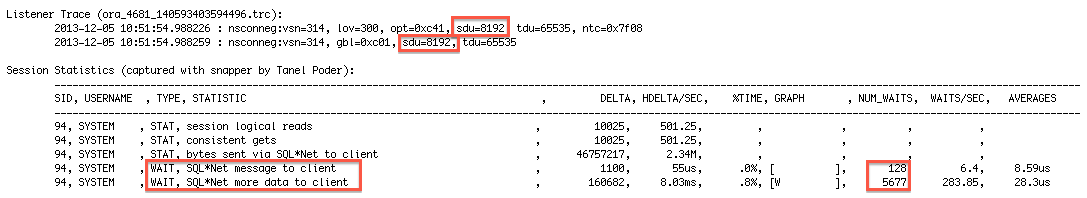 Oracle] SQL*Net researching – Setting Session Data Unit (SDU