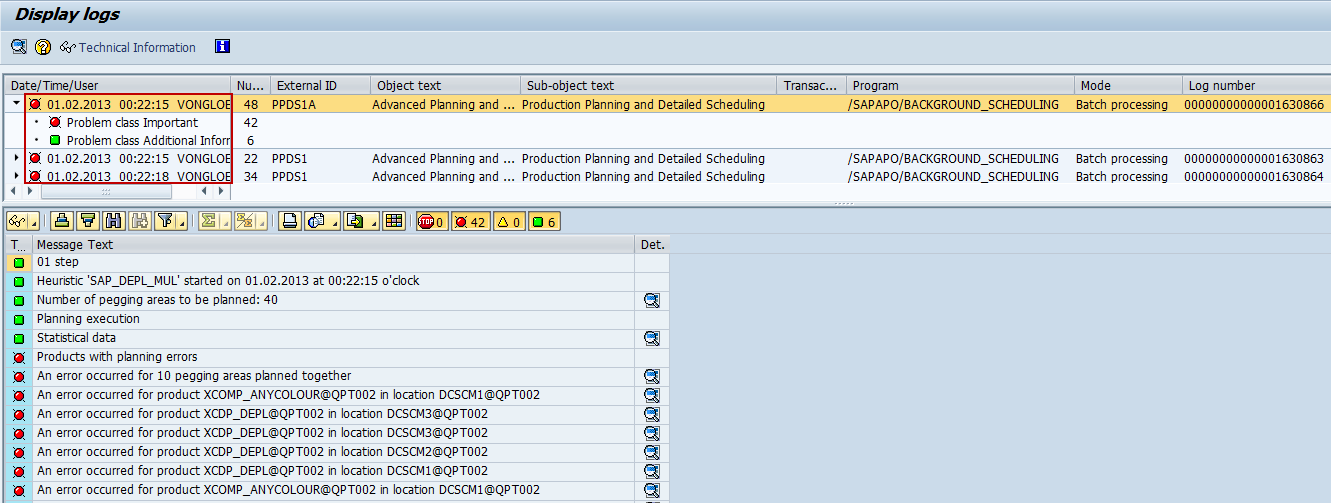 linking the application log with corresponding background job sap