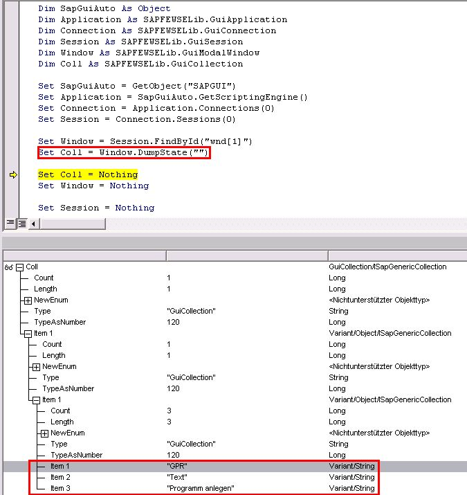 Use the VBA debugger to analyze SAP GUI Scripting objects at