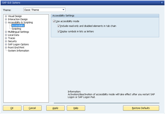 SAP JAWS Screen Reader Extension Installation and Configuration
