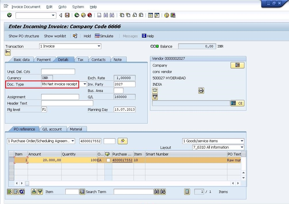 in net invoice doc type system will post the cash discount at the time of invoice posting itself