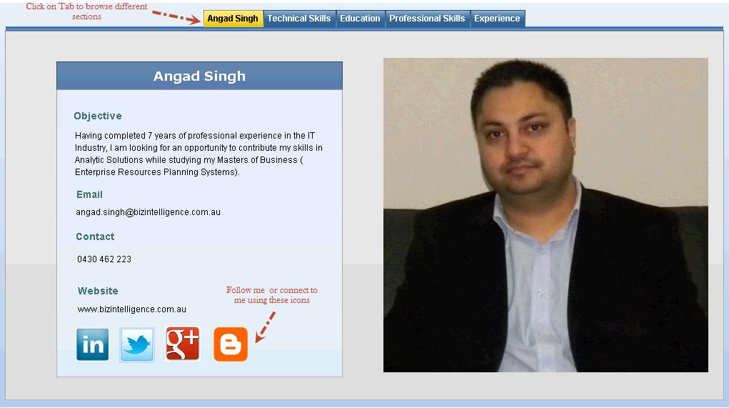 build interactive resume with sap dashboard design sap blogs