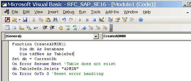 Read data from SAP tables into MS Access 2003 database | SAP