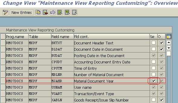Material Document List (MB51) Selection Screen Enhancement