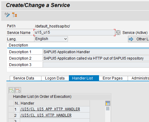 BSP application names and SICF nodes for SAPUI5 on ABAP