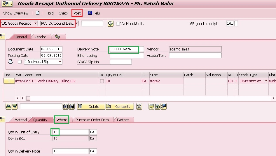 InterCompany Sto With Sd Delivery Billing  Liv  Sap Blogs