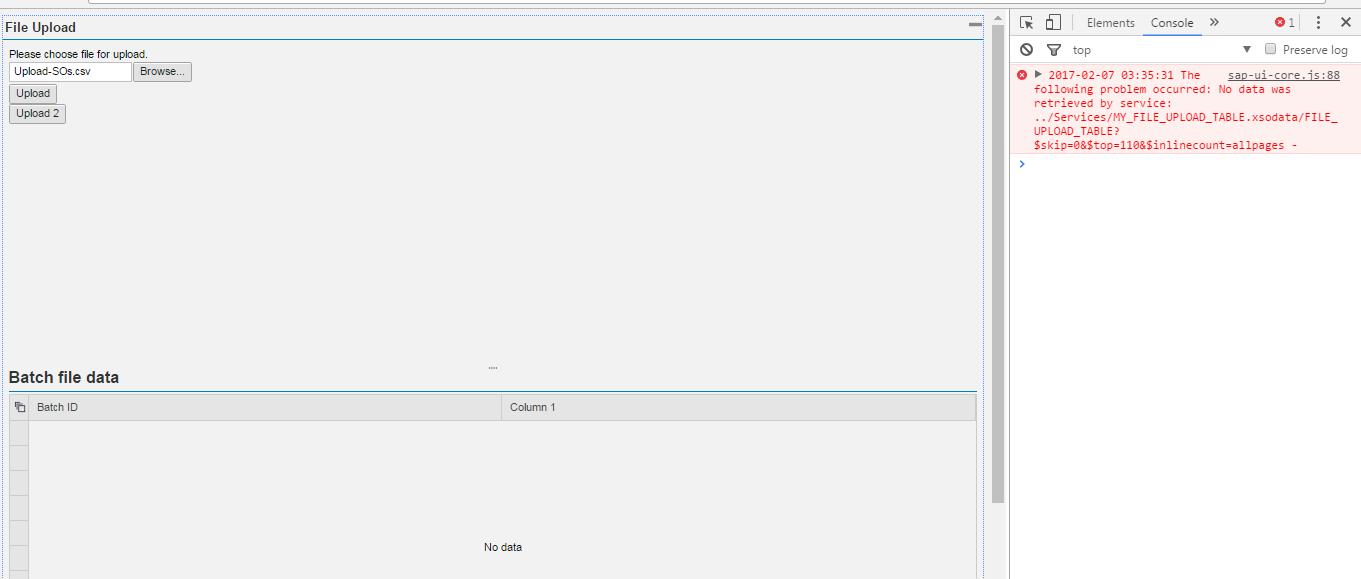 Upload data to HANA table with SAPUI5 FileLoader and HANA